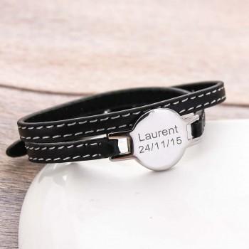 Bracelet rond gravé double tour en Acier et Cuir