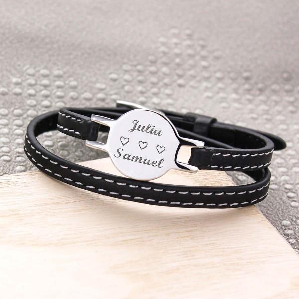Bracelet Rond gravé en Acier et Cuir
