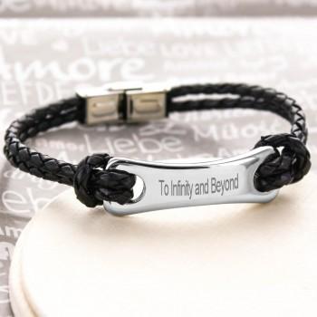 Bracelet gravé pour Homme en Acier et Cuir
