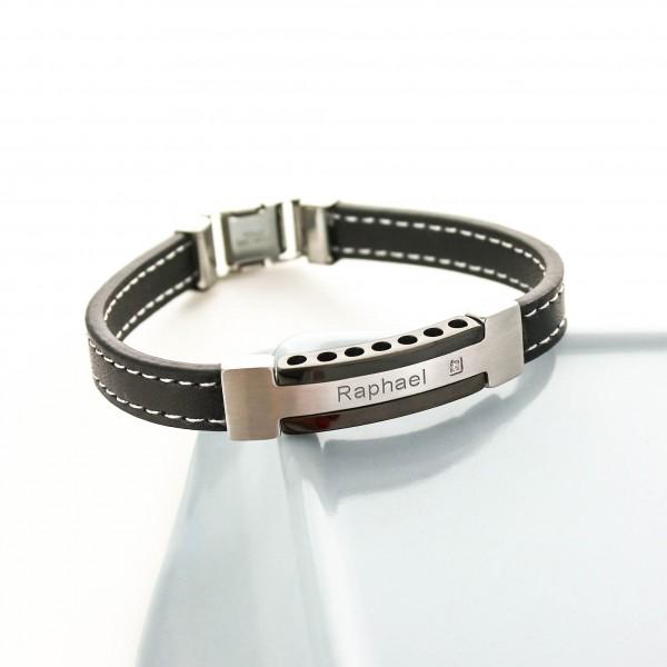 bracelet grav pour homme en acier cuir et zirconium. Black Bedroom Furniture Sets. Home Design Ideas