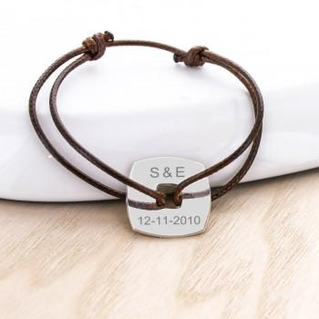 Bracelet cordon jeton carré gravé