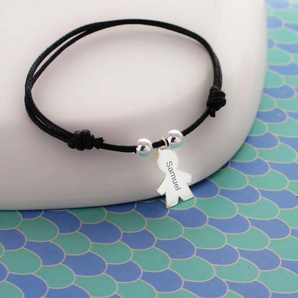 Bracelet gravé garçon / fille sur cordon