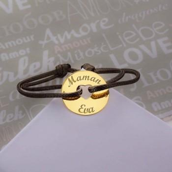 Bracelet Cordon Coeur en Or Jaune