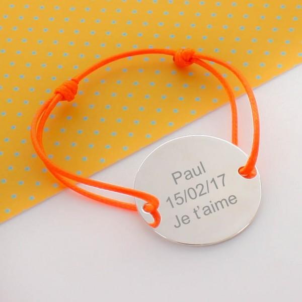 Bracelet médaille gravée 3.5 cm
