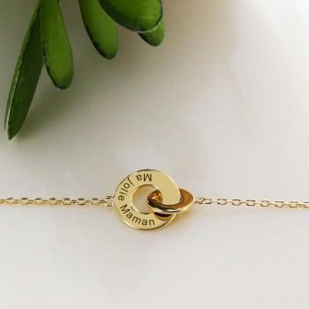 Bracelet gravé double anneaux