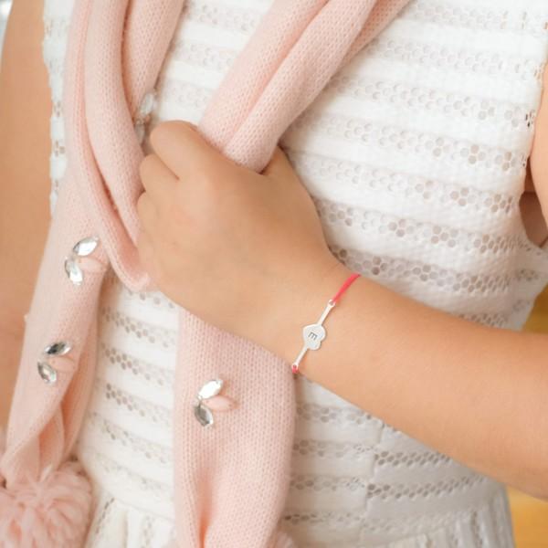 Bracelet barrette forme ronde à graver sur cordon