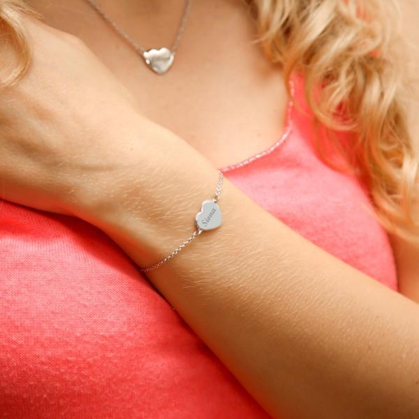 Bracelet coeur gravé lettre droite