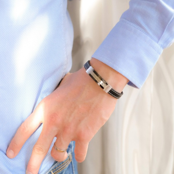 Bracelet pour Homme en Acier, Cuir et Zirconium