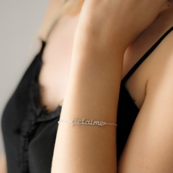 """Bracelet """"Je t'aime"""" Argent"""