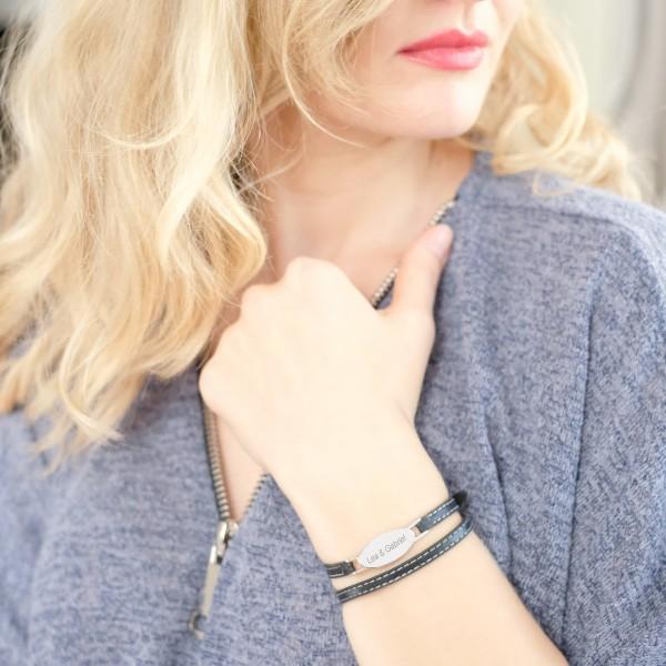 Bracelet Ovale gravé en Acier et Cuir lettre droite