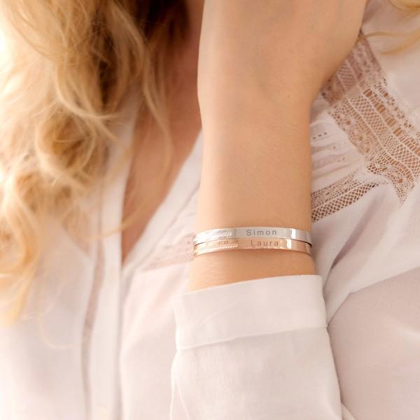 Duo de bracelets joncs perlés à personnaliser