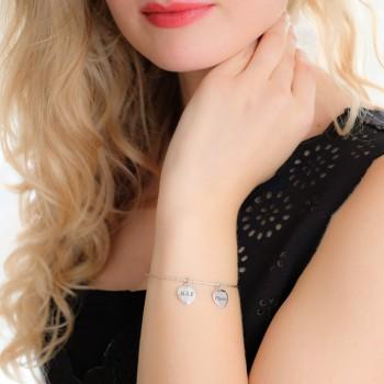 Bracelet jonc gravé avec charm's coeurs