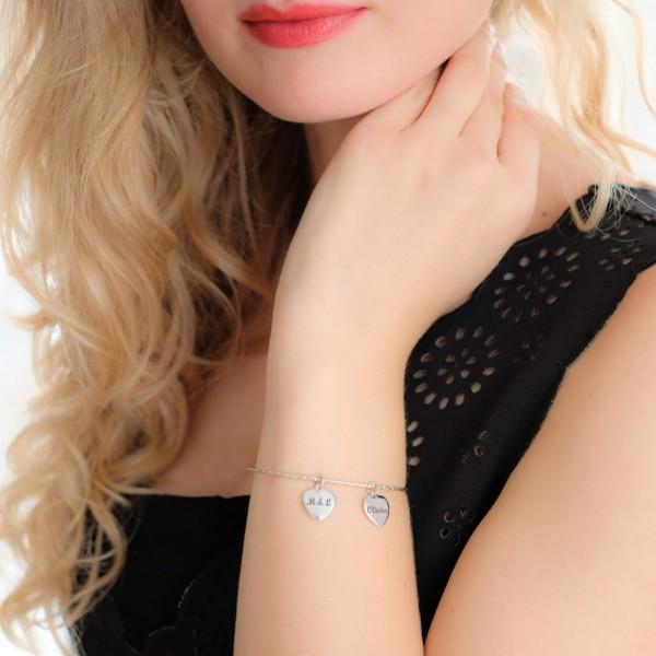 Bracelet Charm's coeurs à personnaliser