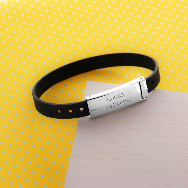 Bracelet gravé pour Homme en Acier et Caoutchouc