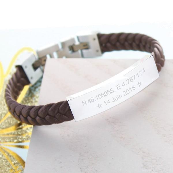 Bracelet homme cuir tressé marron et plaque gravée