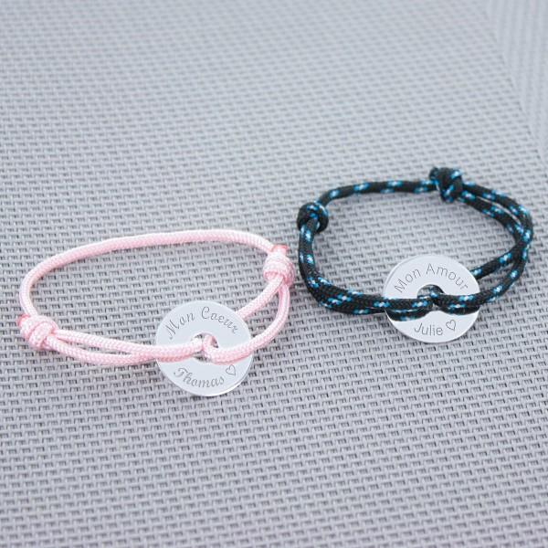 Bracelet Jeton sur cordelette marine