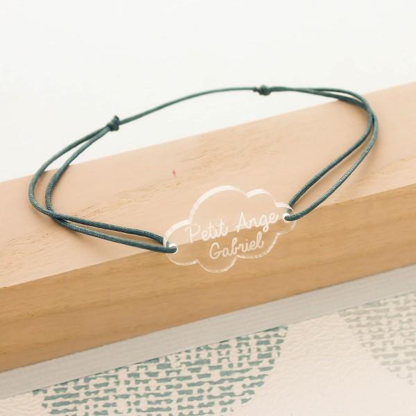 Bracelet gravé acrylique forme nuage