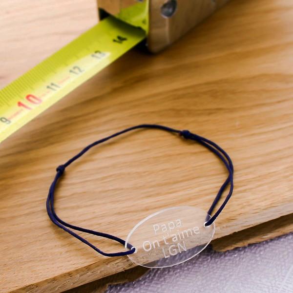 Bracelet gravé acrylique médaille ovale