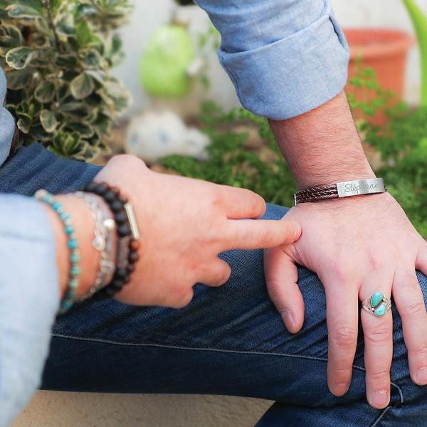 Bracelet acier brossé 3 lacets cuir marron à personnaliser