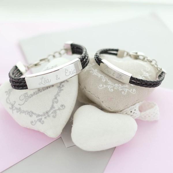 Duo de bracelet acier et lacets cuir noir à personnaliser