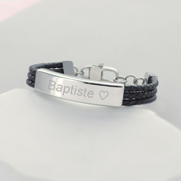 Bracelet acier 3 lacets cuir noir à personnaliser