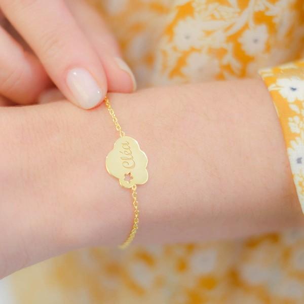 Bracelet étoile dans un nuage sur chaîne à personnaliser
