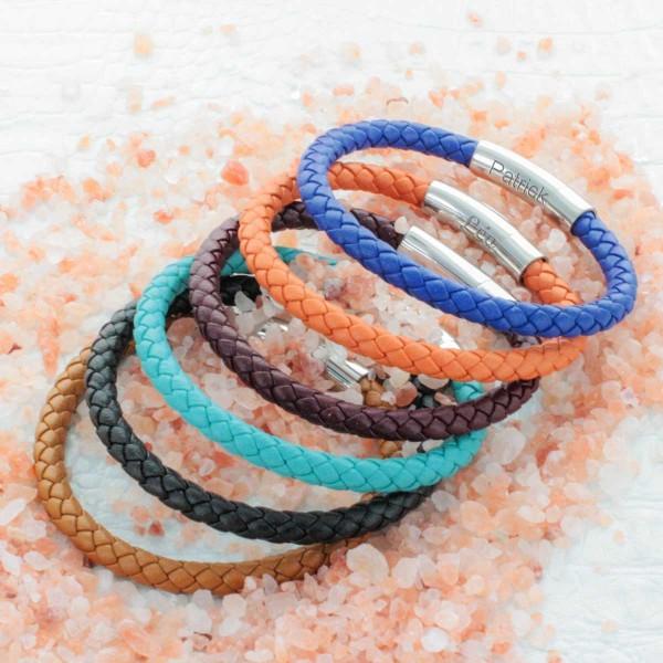 Bracelet Cuir Tressé Gravure sur Fermoir