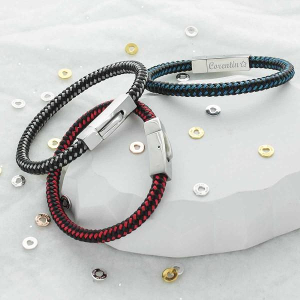 Bracelet gravé pour homme en acier et carbone