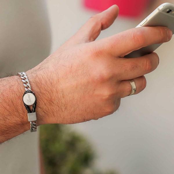 Bracelet acier pour Homme maille gourmette en Acier et Cuir