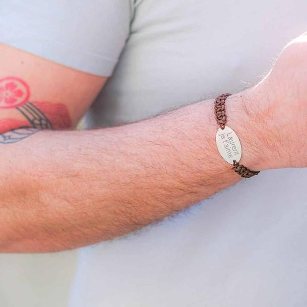 Bracelet homme Shamballa ovale