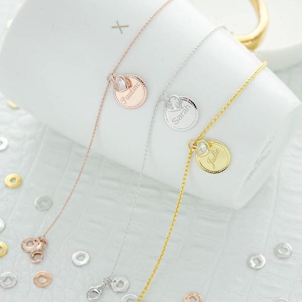 Bracelet medaille perlée coeur zirconium à personnaliser
