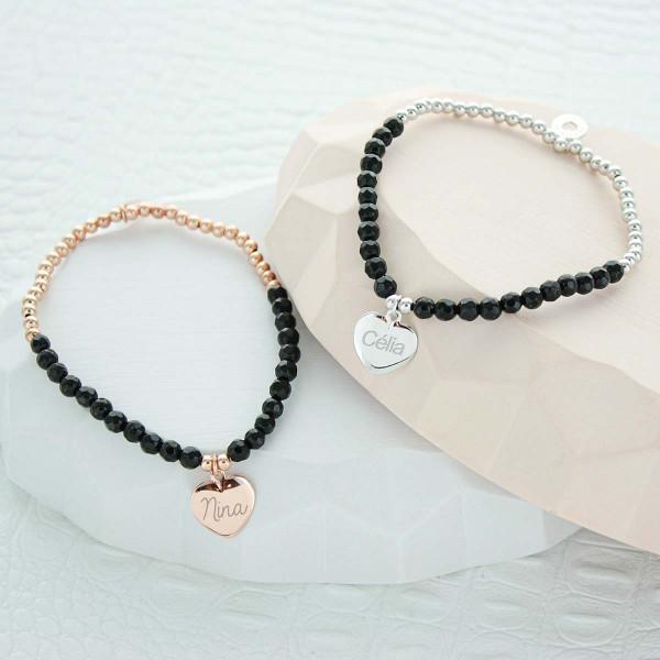 Bracelet coeur perles noires et argent à personnaliser