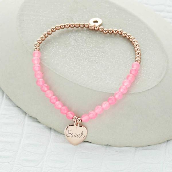 Bracelet coeur perles roses et argent à personnaliser