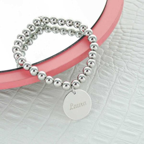 Bracelet perles argent et médailles
