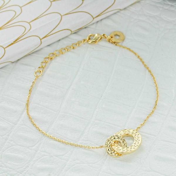 Bracelet double anneaux martelés
