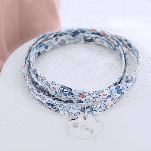 Bracelet liberty gravé étoile dans un nuage