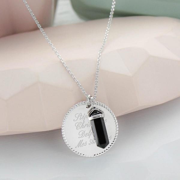 Grand Collier médaille perlée et pierre fine à personnaliser