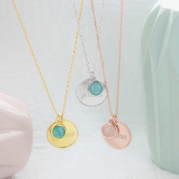 Collier médaille perlée et pierre fine ronde à personnaliser