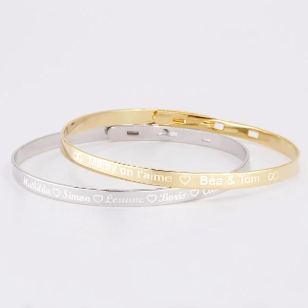 Duo de petits bracelets joncs à graver