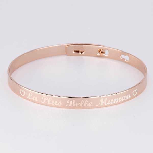 Bracelet Jonc argent rosé à personnaliser en lettre script