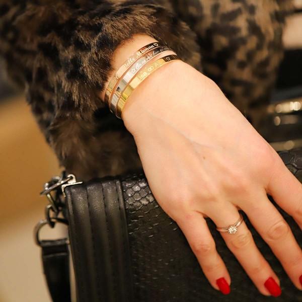 Trio Bracelets Jonc Argent, Argent Rosé et Plaqué Or à personnaliser