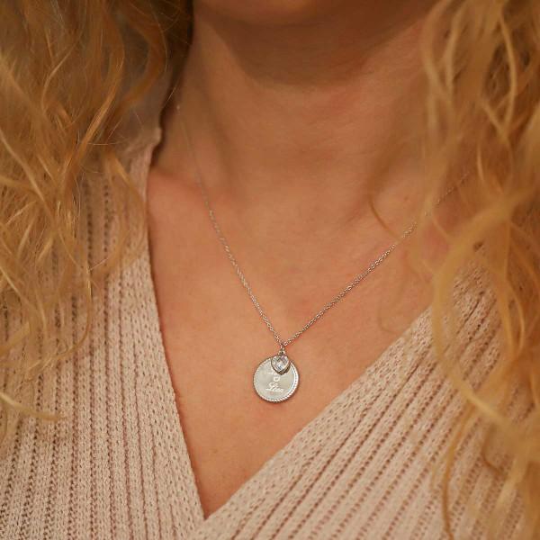 Collier coeur zirconium et medaille perlée à personnalisser