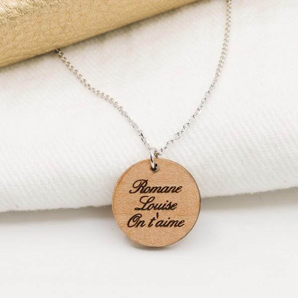 Pendentif médaille à personnaliser en bois