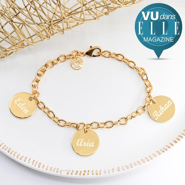 Bracelet 3 médailles personnalisées en argent