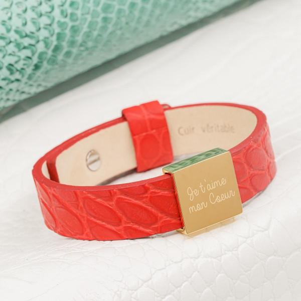 Bracelet cuir et plaque carrée à graver pour Femme