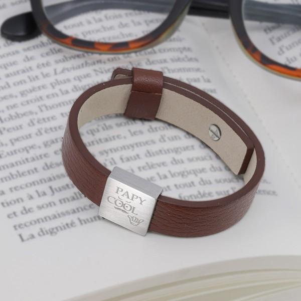 Bracelet plaque carrée à graver pour Homme en Acier et Cuir
