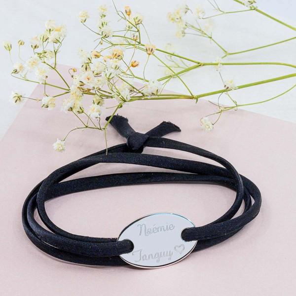 Bracelet satin triple tour à personnaliser