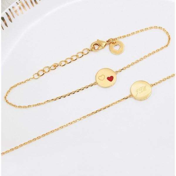 Bracelet Médaille Coeur Rouge