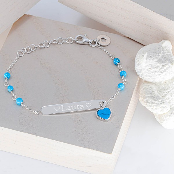 Bracelet Turquoise et Argent à personnaliser