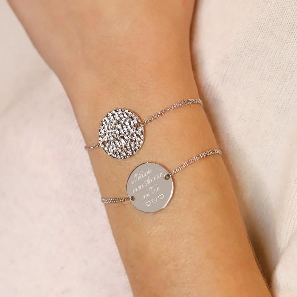 Bracelet disque martelé sur chaine à personnaliser